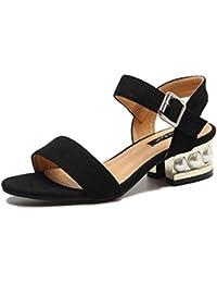 OL Scrub 7 cm talón de perlas artificiales grueso tacón abierto dedo del pie simple moda casual sandalias UE tamaño 35-39 , black , 38