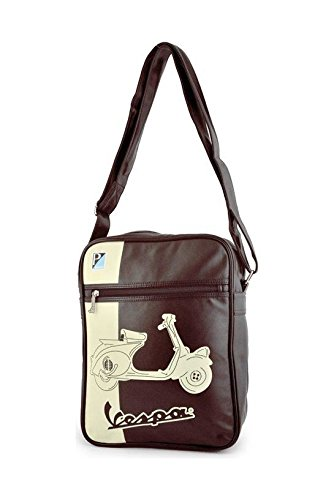 Preisvergleich Produktbild Vespa Tasche braun/schwarz mit beigem Aufdruck Roller