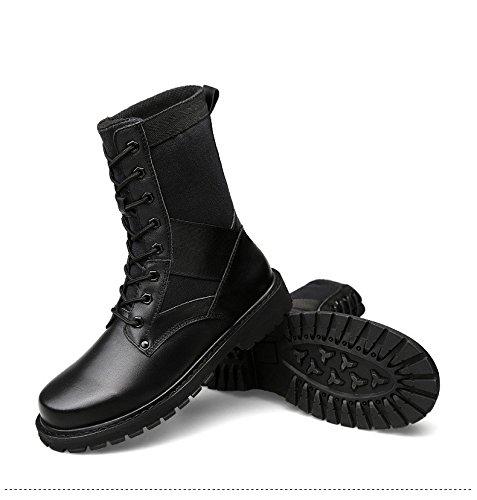 HHY-Confortevole e breathableAutumn e inverno alta aiuto cotone testa di scarpe in pelle di strato e morbidi stivali in pelle per tempo libero outdoor scarpe da uomo Black plus cotton