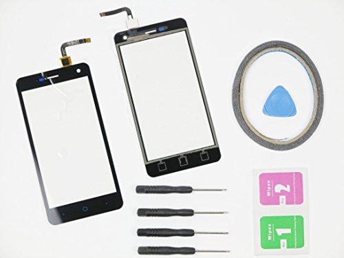 JRLinco Neu Display Scheibe Touchscreen Digitizer Glass Ersatz Für ZTE Blade L3 Schwarz + Werkzeug & klebende +Cleaning alcohol Wiping package