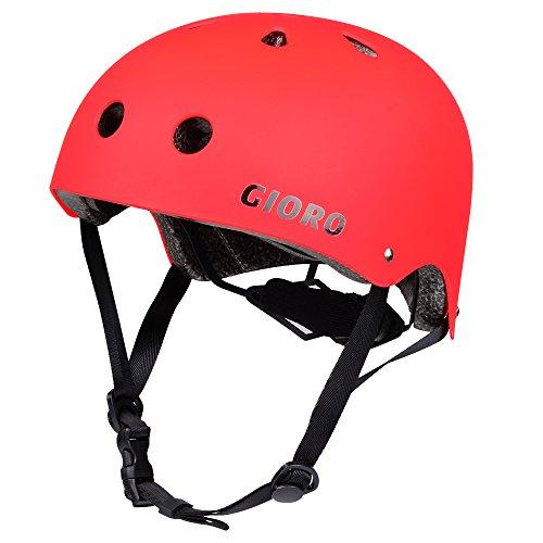 Gioro Skate Casco ajustable Bicicleta Casco ciclo/Moto/Skating Casco Deportes Casco, color rojo, tamaño small