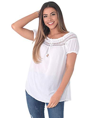 KRISP 6888-WHT-ML Damen Kurzarm Bluse Tunika (Weiß, Gr. M/L) -