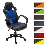 CLP Gaming Büro-Stuhl FIRE mit Armlehne, Kunstleder-Bezug, Schreibtischstuhl, höhenverstellbar, Sportsitz Racer Design, Wippfunktion Blau