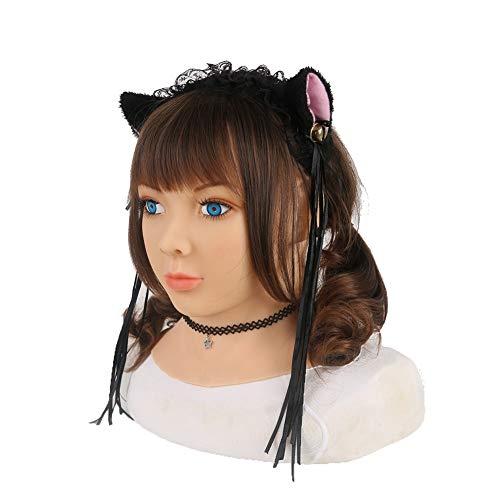 MSFLY Weiche Silikon Kopfmaske Weibliche Charaktere Anime Big Eyes Blau Iris Neck Cover Künstliches Gesicht Cosplay Zubehör CD TD Drag Queen Halloween Kostüme (Queen Kostüm Zubehör)