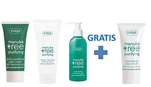 Ziaja Manuka Tree - Kit Cuidado Facial para una limpieza anti-imperfecciones con exfoliante