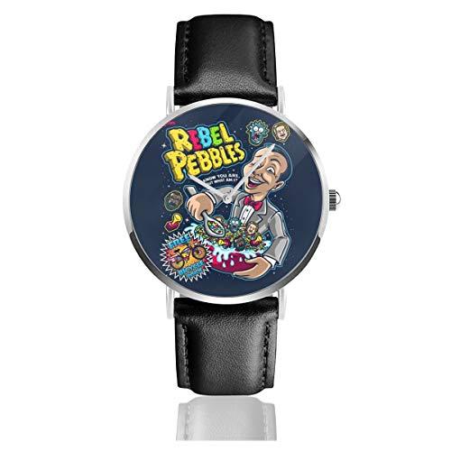 Unisex Business Casual Pee Wee Herman Rebel Pebbles Uhren Quarz Leder Armbanduhr mit schwarzem Lederband für Männer und Frauen Young Collection Geschenk