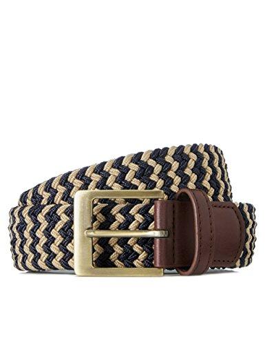 find. Cinturón Trenzado para Hombre, Multicolor (Navy/ecru), (Talla del fabricante: Large)