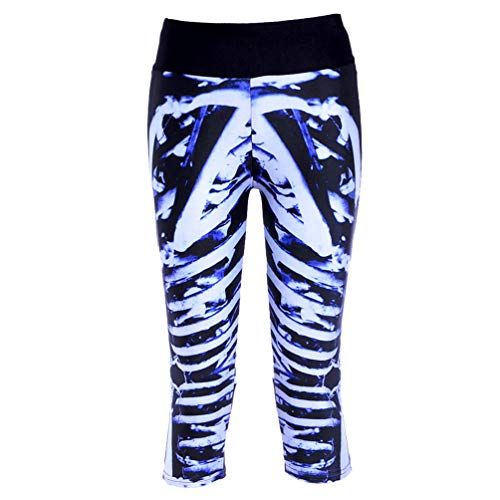 Ayujia Yoga Hosen Leggings Digitaldruck Schwarz Blau Blau Knochen Hohe Taille 7 Punkte Sporthose -1070