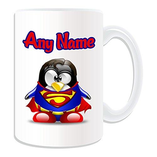 Personalisiertes Geschenk, großer Clark Kent Tasse (Pinguin Film Charakter Design Thema, weiß)–Jeder Name/Nachricht auf Ihre Einzigartiges–Kostüm Film Superhelden Hero noch Superman (Superman Custom Kostüme)