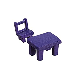 LAMEIDA Deko Mini Möbel Stuhl Tisch Miniatur Puppenhaus Puppenstube Gartendeko Ornament Micro Landschaft 2 Stücke Size 3.5 * 2.5 * 2.2cm (lila)