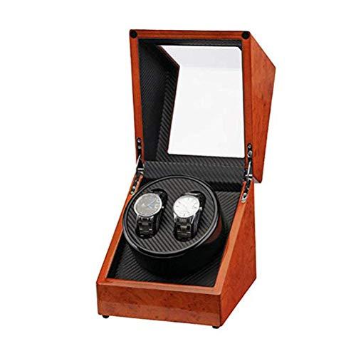 Uhrenbeweger Für Automatikuhren Uhrenbox Uhrenkasten 2 Uhren Watch Winder Box Holzkohlefaser Schmuck Aufbewahrungskoffer Für Alle Automatikuhren Mechanischen Uhren Mit Leisem, Wood Grain