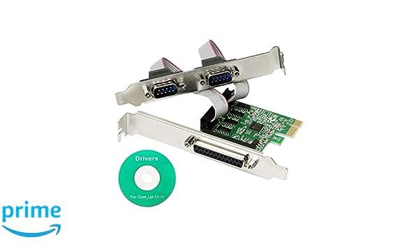 CERRXIAN AX99100 Chipset 2 Ports Serial COM DB9 RS-232 et 1 Port DB25 Imprimante Lpt1 Port PCI-E 1.0 Carte X1 Adaptateur s/érie DB25 et 2DB9 PCI Express