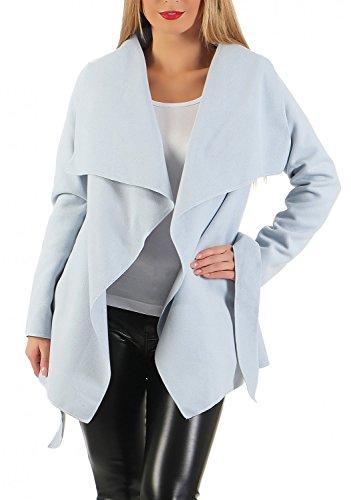 Damen kurz Mantel Trenchcoat mit Taschen ( 541 ), Hell Blau, S / 36