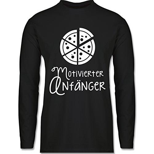 Küche - Motiverter Anfänger Pizza - Longsleeve / langärmeliges T-Shirt für Herren Schwarz