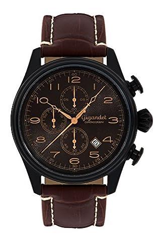 Gigandet Quarz Herren-Armbanduhr Timeless Chronograph Uhr Datum Analog Lederarmband Schwarz Braun G41-005