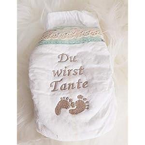 """Bestickte Windel"""" Du wirst Tante"""" Füßchen"""