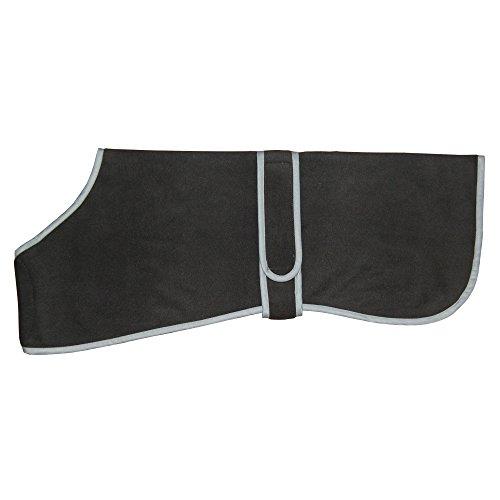 Thermo Wärme-Hundemantel /Hunde-Jacke Aus Fleece in Schwarz für Mittelgroße Hunde mit langem Rücken Rückenlänge Bis zu 60 cm Auch zum Drunter Anziehen Von - Windhund Mantel