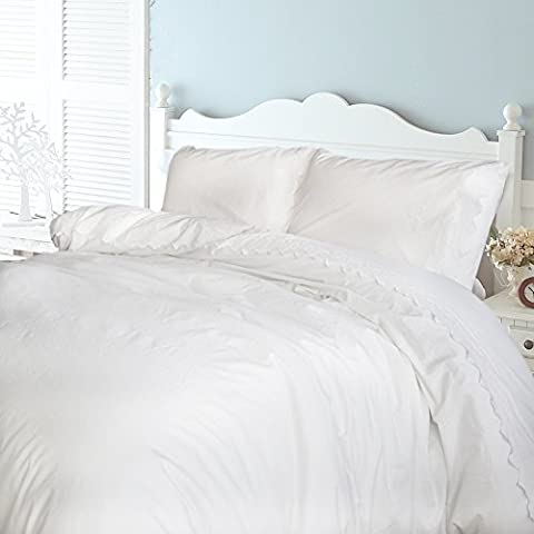 Merryfeel 100% Cotton Embroidered Lace Duvet Cover Set (King Set,White)
