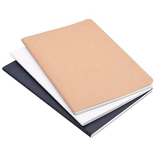 (Set von 3) A5Dotted Notebook/Travel Journal–5,5x 8,25Dot Grid Papier für Bullet Journaling 120Blatt/240Seiten schwarz/weiß/Kraft Bezug braun