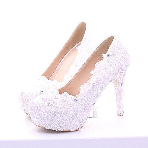 Si& Pattini da cerimonia nuziale delle donne / principessa e sposa / tacco di Stiletto / piattaforma rotonda piattaforma impermeabile / sandali high-heeled / pattini di ballo bianco del merletto 14CM