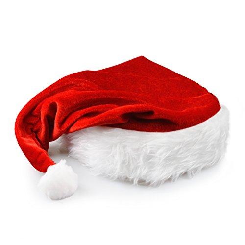 Preisvergleich Produktbild Nikolaus-Mütze mit Pelzrand, in rot – weiß, Weihnachtsmütze, Weihnachtsmann, Wintermütze, Mütze, Weihnachten, Winter, Xmas – Marke Ganzoo®