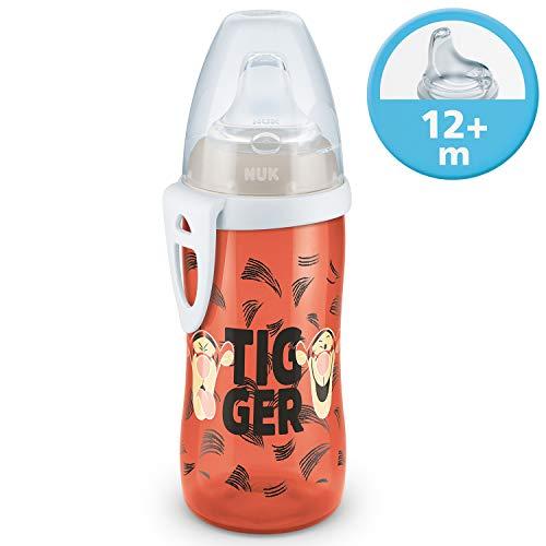 NUK Disney Active Cup Trinklernflasche Kinder, mit Soft-Trinktülle aus Silikon, 300ml, auslaufsicher, mit Clip, 12+ Monate, BPA frei, Tigger Orange