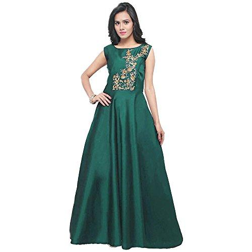 Purva Art Women's Taffeta Silk Blouse Work Stitched Long Gown For Girls...