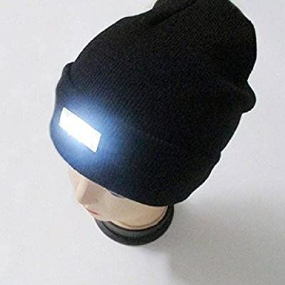 CAMTOA Mode Ultrahelle 5 LED beleuchtete Cap,Unisex warme Beanie Mütze Hut ,12000MCD Stirnlampe Headlamp Kappenlampe für Angeln,Jagd, Camping, Grillen, Jogging, Auto-Reparatur