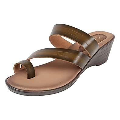 Catwalk Brown Leather Slip-on for Women's