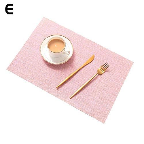 Outtybrave 4 Tischsets, wasserdicht, dick, hitzebeständig, einfarbig, Rutschfest, abwaschbar rosa Rose