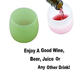 Wine Glass - Flexible Unbreakable Dishwasher Safe Silicone Wine Cups For Red Wine or White Wine, Beer, Whiskey or Any Beverage Great for Outdoor Parties, Travel, Beach, Camping, Poolside By Shuban (Green)