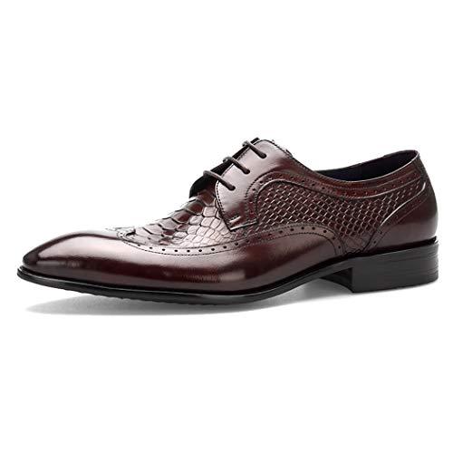 MYXUAA Herrenschuhe Derby Business-Schuhe Atmungsaktive Schnürschuhe Mode Nähgarn Freizeitschuhe im klassischen Stil-brown-EU43/US10.5/UK9.5 -
