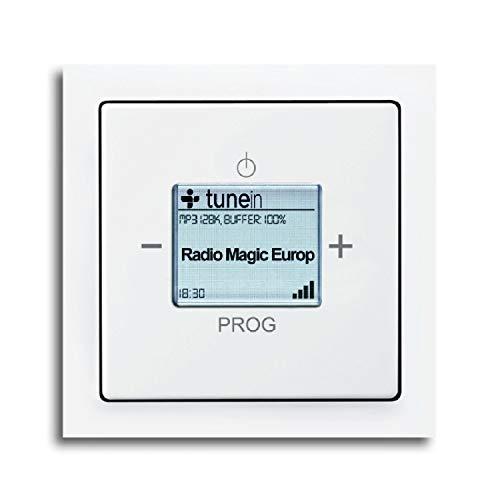 Busch Jäger Unterputz UP iNet Inernet WLAN Radio (8216U) Future Linear studioweiß glänzend - Set mit Radioeinheit 8216 U, Rahmen und Radioabdeckung