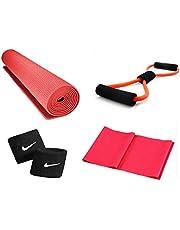 SPANCO Yoga Kit (Yoga Mat (Grey), Yoga Tube, Yoga Strecher, Wrist Band)