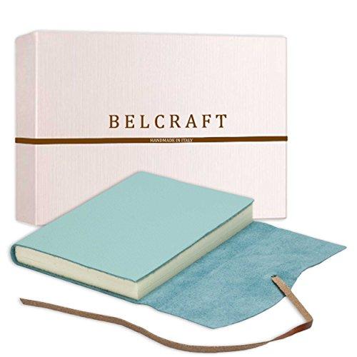 Capri mittelgroßes Notizbuch aus Leder, Handgearbeitet in klassischem Italienischem Stil, Geschenkschachtel inklusive, Tagebuch, Lederbuch (12x17 cm) Aqua