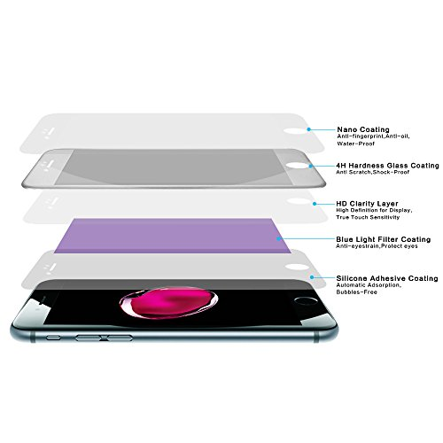 iPhone 7Protezione per Schermo, iPhone 7Plus Protezione Schermo, morecoo Proteggi Schermo in Vetro Temperato Anti Luce Blu (4,7pollici/5,5pollici) per Apple Iphone 7/7PLUS (2016) [garanzia a vita] Black