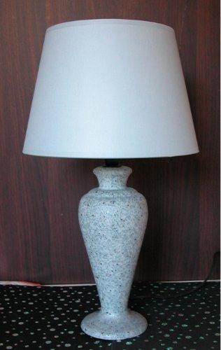 Lampada lumetto abat jour da tavolo o comodino in ceramica grigia granigliata; paralume modello tronco cono d25 in tessuto grigio plastificato; attacco per 1 lampada E14 tedesco piccolo
