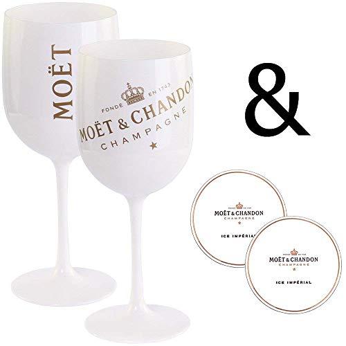 2 x Moët & Chandon Ice Imperial Champagner Acryl-Glas 0.45l Becher Kelch weiss/gold Gläser Set inkl. Untersetzer (2 x Stück)
