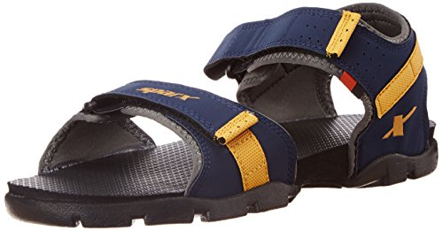 Sparx Men's Navy Blue and Yellow Sandals and Floaters - 7 UK