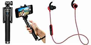 MIRZA Selfie Stick & Bluetooth Headset for LENOVO k3(Selfie Stick,Black Selfie Stick & AUX Selfie Stick & Reflect/Handfree/Earphones/With Mic/Headset/Sports Headset/GYM Headset )