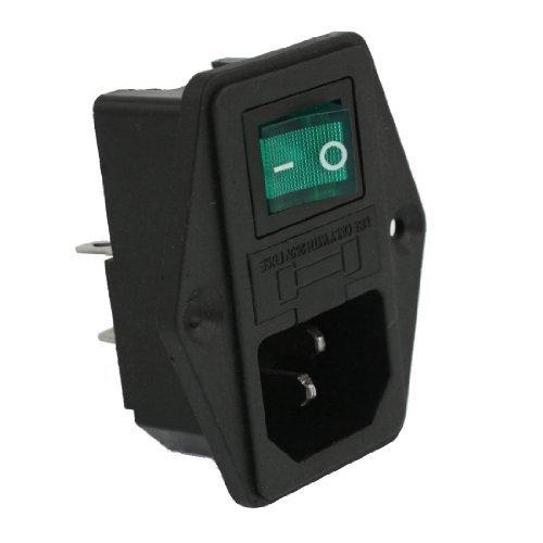 SODIAL (R) AC 10A 250V IEC320 C14 Eingangsmodul mit Neon-Lampe Wippschalter und Sicherungshalter