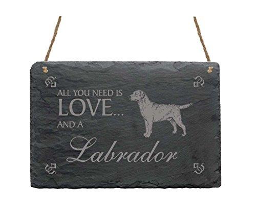 « All You Need Is Love and a Labrador » 2-Targa in ardesia con motivo-CANE ANIMALE DOMESTICO decorazione