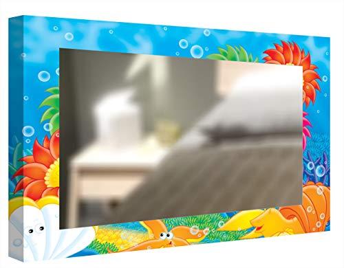 CCRETROILUMINADOS Kretroiluminado unter dem Meer Kinderspiegel, dekorativ, Hintergrundbeleuchtung, Methacrylat, Mehrfarbig, 60 x 80 cm