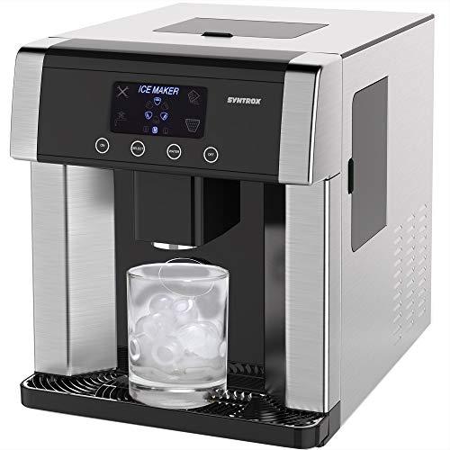 Syntrox Germany Digitaler Eiswürfelbereiter mit Eiswasserfunktion Eiswürfelmaschine IC-150W LCD Turku