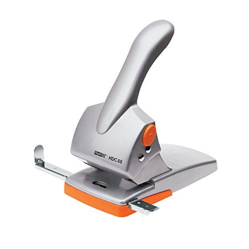 Rapid 20922603 Registraturlocher HDC65, Gussmetall, 65 Blatt, silber/orange