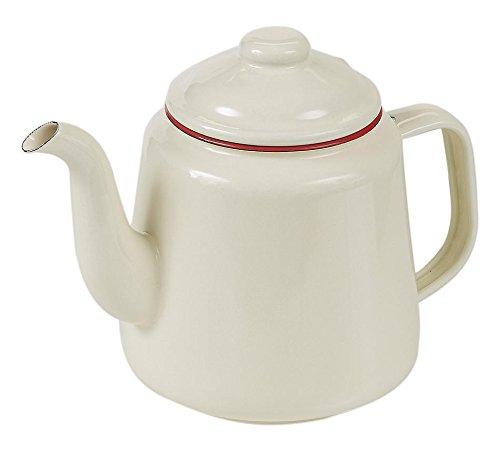 Victor Emaille-Teekanne mit Rand, Rot