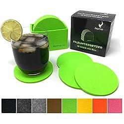 flamaroc Filzuntersetzer Rund - 10er Premium-Set mit Box Hell Grün, Stylishe Glasuntersetzer in Hellgrün für Glas, Getränke, Gläser, Tassen, Tisch (Hellgrün)