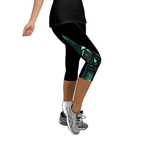 Encounter Damen 3/4 Hose Sport Leggings Capri Hose Tights Sportswear Patchwork Mehrfarbig für Yoga Gym Fitness (M, Mehrfarbig-12) (Fitness Capri Hose)