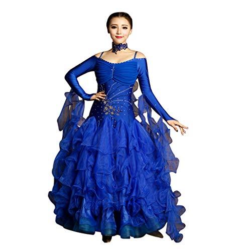 Hot Dance Latin Kostüm - LRR Ballroom Dance Outfit Damen Wettbewerbskleider Hot Drilling Collars , Modernes Walzer-Kleid Kostüm Schultergurte (Farbe : Royal Blue, größe : M)