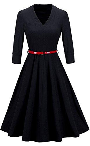 HOMEYEE - Vestito - scollo a V partito elegante swing Chic Impero - Donna A006 Nero